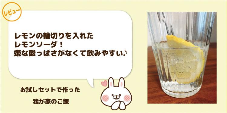レモンの輪切りを入れたレモンソーダ。嫌な酸っぱさがなくて飲みやすい